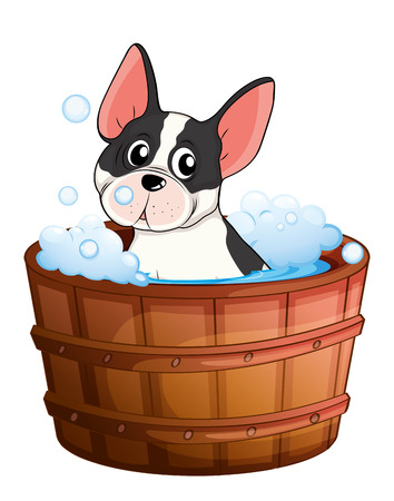Illustration of a dog taking a bath on a white background Vector