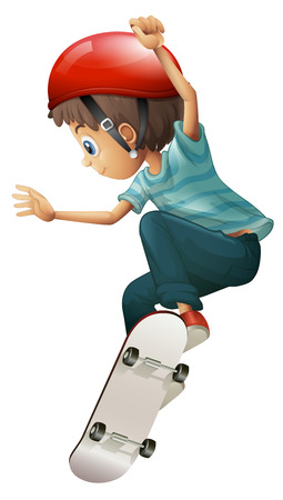 Illustration of a young gentleman skateboarding on a white background Vector