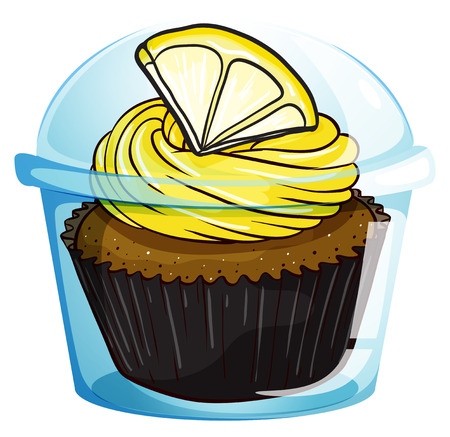 Illustration of a flavorful cupcake inside a covered cup on a white background Vector