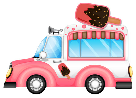 vendor: Illustration of a pink car selling icecream on a white background