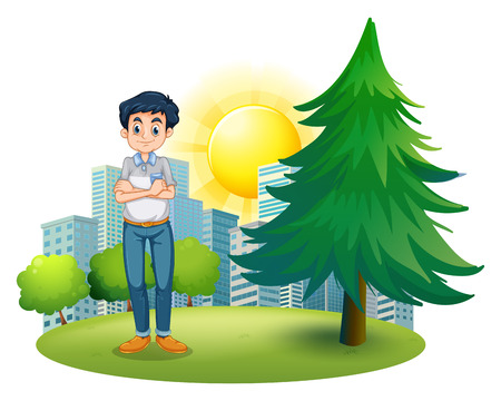 Illustration of a man standing near the pine tree on a white background Illustration