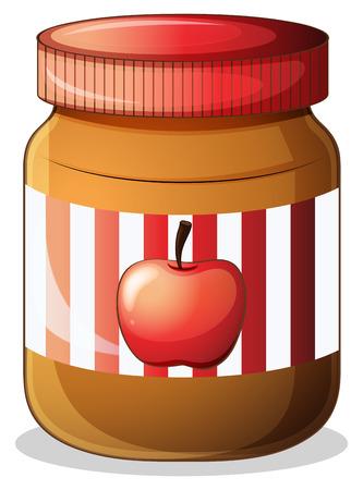 jam sandwich: Illustration of a bottle of apple jam on a white background Illustration