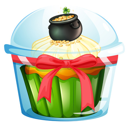 feast of saint patrick: Illustration of a cupcake with a pot of coins on a white background Illustration