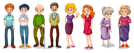 Illustration of a group of adults on a white background Vector