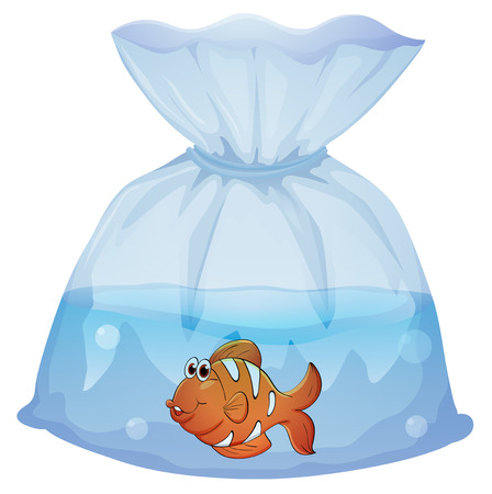 Illustration of a fish inside a pouch on a white background Stock Vector - 28533094