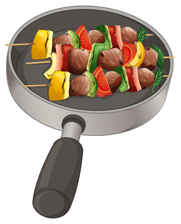 melaware: Illustration of a pan with foods on stick on a white background Illustration