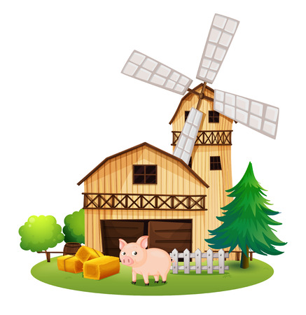 barrell: Illustration of a pig in front of the farmhouse with a windmill on a white background Illustration