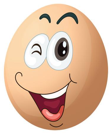 oval shape: Illustration of a smiling egg on a white background Illustration