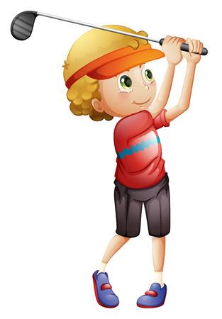 Illustration of a boy golfing on a white background
