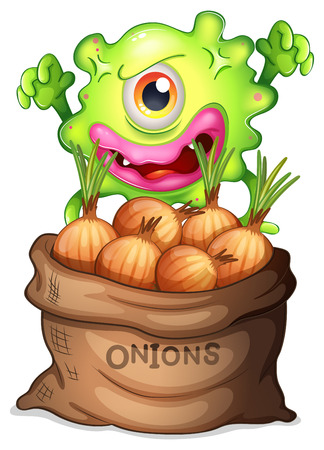 Illustration of a monster and a sack of onions on a white background
