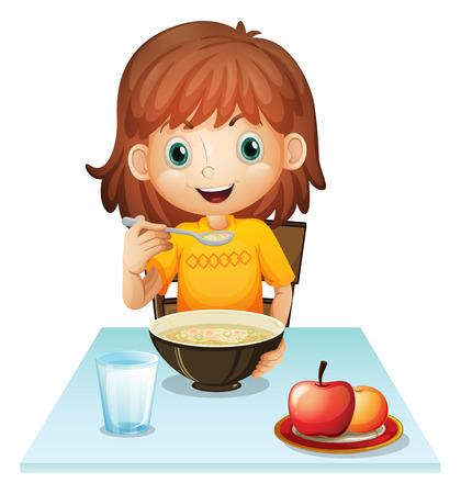 Illustratie van een klein meisje eet haar ontbijt op een witte achtergrond