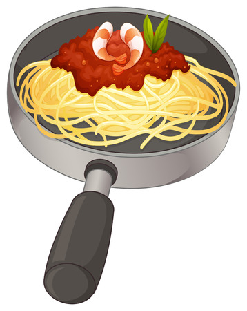 Illustration of a spaghetti in a pan on a white background Vector