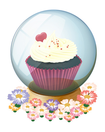 mouthwatering: Illustration of a crystal ball with a mouthwatering cupcake on a white background