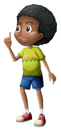 black boy: Illustration of a curly young man on a white background