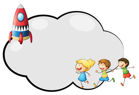 Illustration of an empty cloud template with kids and a rocket on a white background Vector