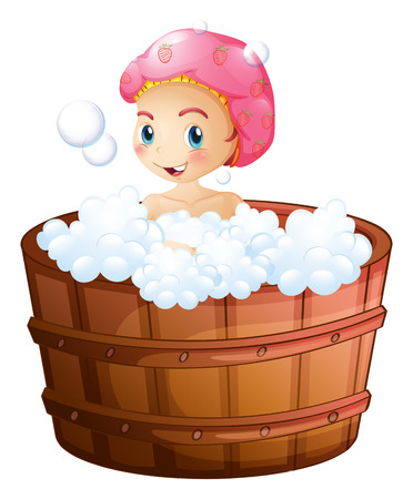 cartoon bathing: Illustration of a smiling girl taking a bath on a white background