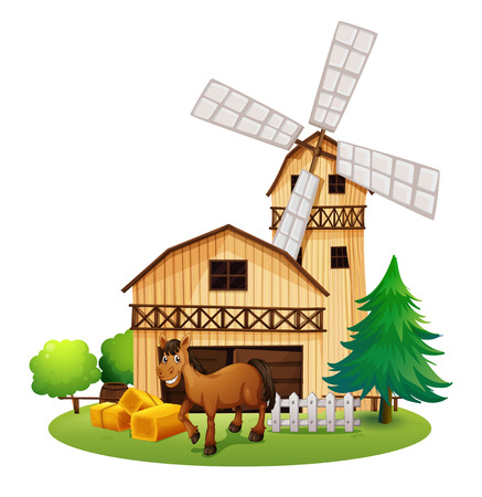 Illustration of a horse outside the barnhouse at the farm on a white background Vector