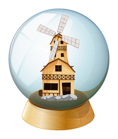 swingdoor: Illustration of a crystal ball with a wooden house on a white background Illustration