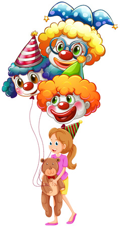 Illustration of a young lady with clown balloons and a teddy bear on a white background Vector
