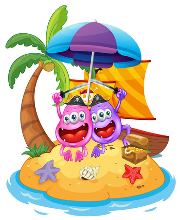 Illustration of an island with pirate monsters on a white background Vector