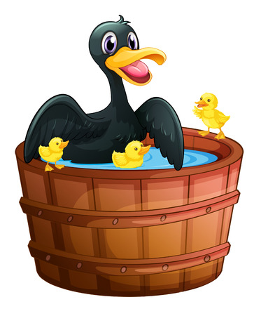 Illustration of a mini pool with a duck and her ducklings on a white background Vector