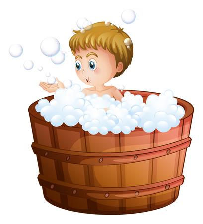 aseo personal: Ilustración de un muchacho que juega con las burbujas en el interior del barril grande sobre un fondo blanco