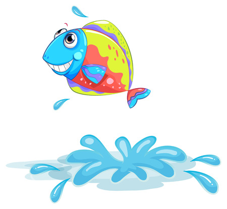ocean cartoon: Illustration of a colourful fish on a white background Illustration