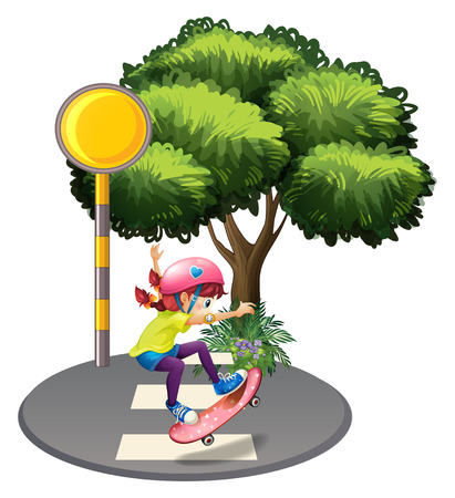 Illustration of a girl skateboarding near the big tree on a white background Vector