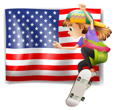 Illustration of a female skater near the USA flag on a white background Vector