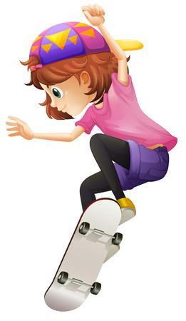 Illustration of an energetic young lady skating on a white background Vector