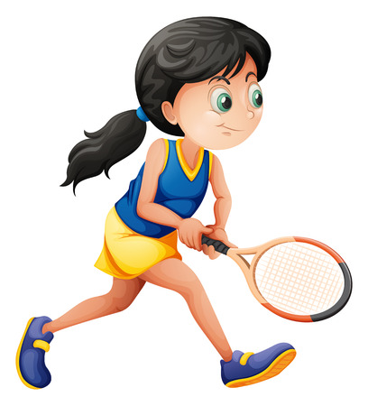 tennis skirt: Illustration of a young female player playing tennis on a white background