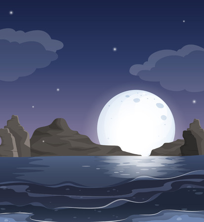 wavelengths: Illustration of a view of the ocean in the middle of the night Illustration