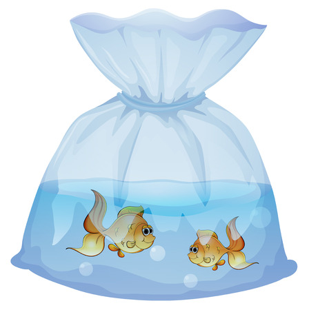 Illustration of a plastic pouch with two fishes on a white background Stock Vector - 28537697