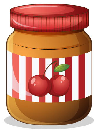 food clipart: Illustration of a cherry jam on a white background Illustration