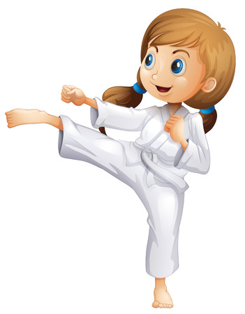 Illustration of an energetic young woman doing karate on a white background Vector