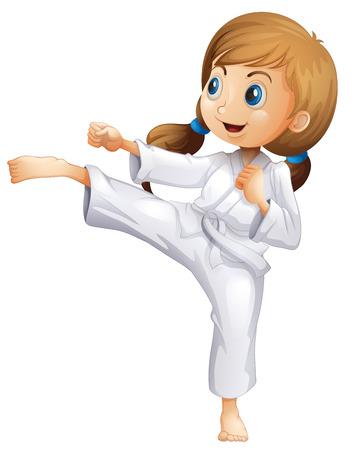 patada: Ilustración de una mujer joven y enérgico haciendo karate en un fondo blanco