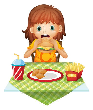 Illustration of a hungry little girl eating on a white background Vector