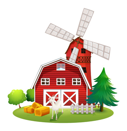 Illustration of a farm with a red house and a windmill on a white background Vector
