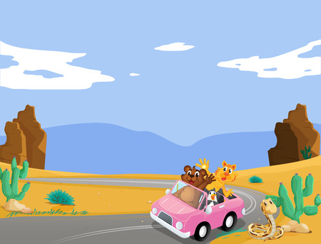 desert road: Illustration of a pink car with animals travelling Illustration