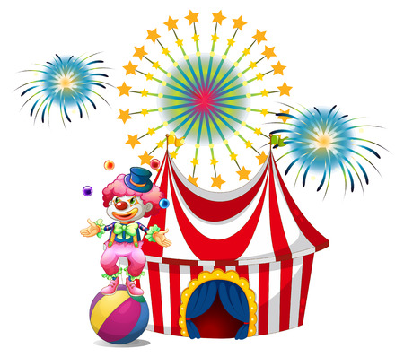 Illustration of a carnival with a clown juggling on a white background Vector