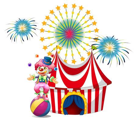 juggling: Ilustraci�n de un carnaval con un malabarismo payaso en un fondo blanco