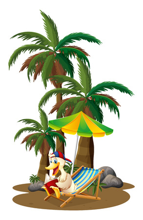 palm reading: Illustration of a duck reading near the palm trees on a white background
