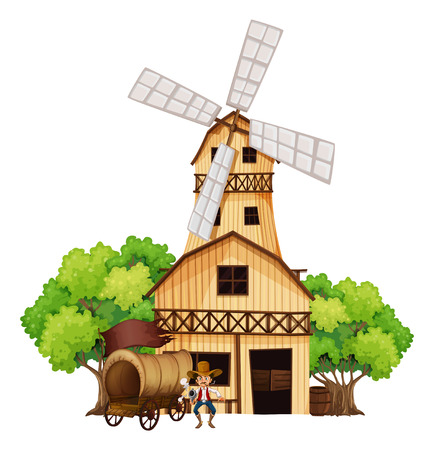 swingdoor: Illustration of a wagon with an armed gunman standing infront of the wooden house on a white background Illustration