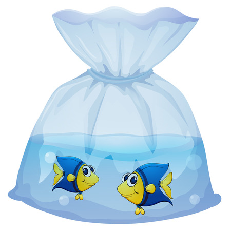 Illustration of a plastic bag with two fishes on a white background Vector