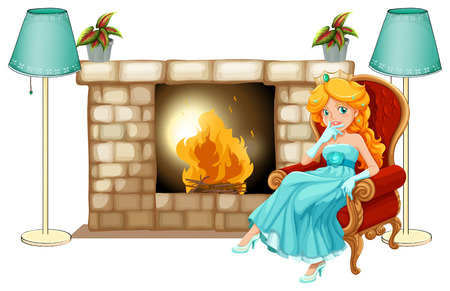 highness: Illustration of a princess near the fireplace on a white background