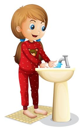 lavare le mani: Illustrazione di una giovane donna sorridente lavare il viso su uno sfondo bianco