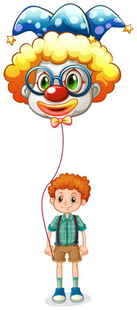 Illustration of a boy holding a clown balloon with an eyeglass on a white background Vector