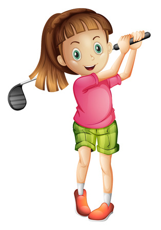 golfing: Illustratie van een schattig klein meisje spelen golf op een witte achtergrond