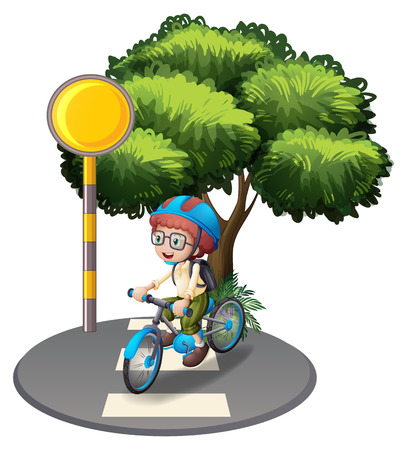 Illustration of a young boy at the pedestrian lane on a white background Vector