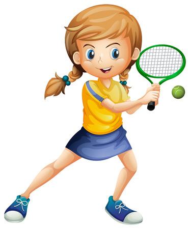 dívka: Ilustrace krásná dáma hrající tenis na bílém pozadí